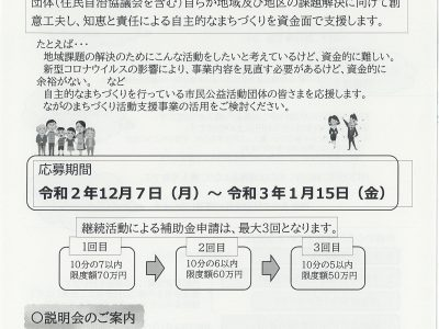 令和3年度ながのまちづくり活動支援事業 補助金受付中!!